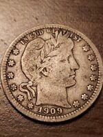 1909 Silver Barber Quarter F