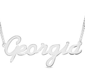 925 Sterling Silver GEORGIA Name Necklace Womens Pendant Gift Ready Stock