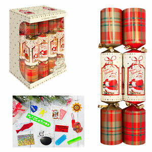 12 Pack Family 30cm Christmas Crackers - Red Tartan Santa