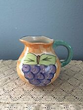 """China Guyroc Hand Painted Pitcher Blue Green Pink Purple 6"""" tall"""