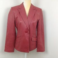 Women's ALFANI Red 100% Genuine Leather Lined Fitted Blazer Jacket Size Medium