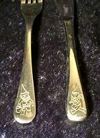 """Children's Stainless Steel Cutlery Set """"Dwarfs"""" Theme, WMF Cromargan"""