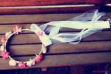 Women Girls Kids White Flower Bow lace boho Wedding Bride maid Tiara Hair Hoop