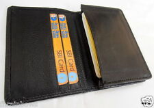 Genuine Cowhide Black Milled Leather Expandable Business Credit Card Holder