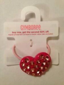 NWT Gymboree Popstar Academy Pink Heart Shape Acrylic Ponytail Holder Rhinestone