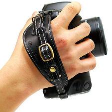 HORUSBENNU DSLR SLR Camera Leather Universal Hand Grip Strap Black/White