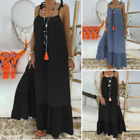 Women Party Sleeveless Spaghetti Strap Long Dress Plus Size Flare Loose Sundress