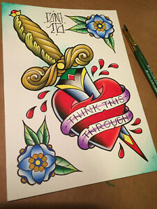 painting heart love watercolor ornate dagger colorful flower traditional tattoo