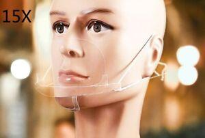 15 Masque Visière de Protection Transparent couvre nez anti-bué , salive, germe