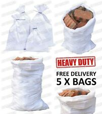 5 X EXTRA LARGE WHITE WOVEN BUILDERS RUBBLE WASTE SACKS BAGS HEAVY DUTY GARDEN