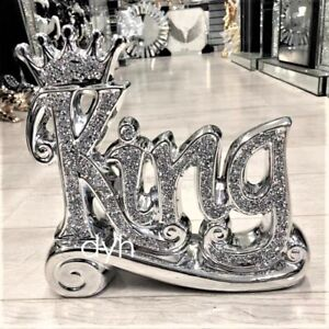 SILVER CRUSHED DIAMOND SPARKLY CROWN KING QUEEN ORNAMENT SHELF SITTER BLING