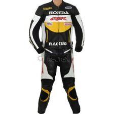 Tute in pelle e altri tessuti due pezzi gialli con zip completa per motociclista