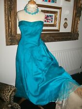 Ladies Vintage Silk Dupion turquoise Dress size 16 by David Butler at ChartRiver
