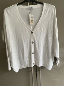 Marks and spencer per una Womans Cardigan Size 24 White Batwing Sleeve