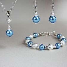 Ice blue pearl necklace bracelet earring silver wedding bridesmaid jewellery set