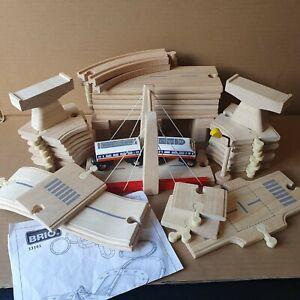 Joblot Rare Brio 33161 & Plan Toys Wooden Rail & Road Set 3+ Road Track Bridge