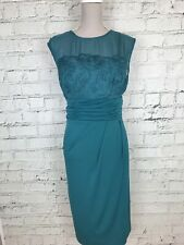 ALEXON - Teal Sleeveless Lace Overlay Formal Occasion Dress - Womens - Size 16