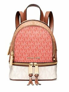 Michael Kors Backpack Bag Rhea Colorbloc XS Backpack P.Grapefruit Multi New