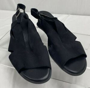 Arche Cut Out Wedge Slingback Sandal Black Nubuck Leather Made in France Size 39