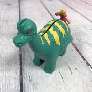 1996 Wendys Dinosaur Plastic Piggy Bank w Stopper Boy Club Caveman / Flintstones