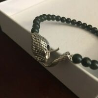 Sterling Silver and Genuine Jade Bead Bracelet Hand Made