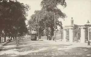 VINTAGE WWI REAL PHOTO ENTRANCE ROYAL MILITARY ACADEMY, WOOLWICH COMMON POSTCARD