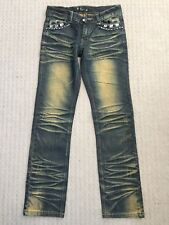 Women Fashion Denim Blue Jeans with Gemstone Deco Low Waist Zip Up Size 26