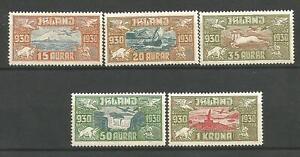 Iceland 1930 regular issue, complete set, Mi #142-146, MH, CV=450EUR