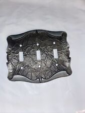 Amerock Carriage House 1970 Antique Silver Scroll 3-Gang Switch Wall Plate Cover