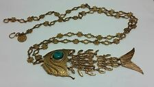 Designer Gypsy Turquoise Large Fish Bronze Fancy Chain Pendant 39 Inches