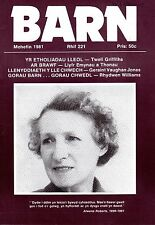 """D.J. WILLIAMS  - EUROS BOWEN - ROGER BOORE - WELSH MONTHLY """"BARN"""" No 221 (1981)"""
