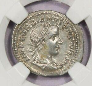 238-244 AD Roman Empire Gordian III AR Denarius rv emperor w/spear NGC AU B4