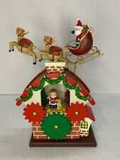 Vintage Christmas Musicbox Decoration Santa On Roof Top Reindeer Movable