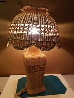 "1970's Vintage 27"" Wicker Lamp W/ 17"" Diameter Wicker Shade"