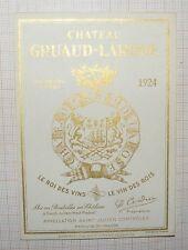 ANCIENNE ÉTIQUETTE DE VIN CHÂTEAU GRUAUD-LAROSE 1924 SAINT-JULIEN MÉDOC /B2153