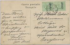 "2135 1909 EVII ½ D green with overprint ""LEVANT"" (vertical pair) POSTMARK ERROR"