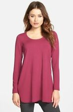 SZ PP Eileen Fisher Thistle 3/4 Sleeve Ballet Neck Viscose Jersey Top NWT