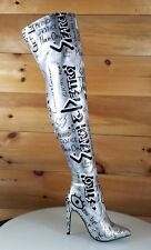 CR Silver Destroy Graffiti Graphic Print High Heel Thigh Boot Us Size 6-11