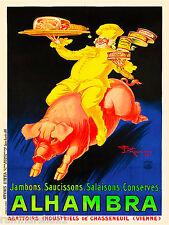 1900's French Alhambra Ham Pork Food & Wine Advertisement Art Poster Print