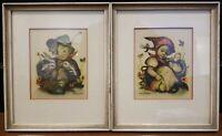 2 Vintage Original Hummel Printed Glass Framed  Pictures Germany Easter