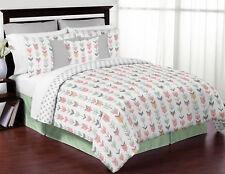 Sweet Jojo Coral White Mint Grey Arrow Girl Children Full Queen Teen Bedding Set