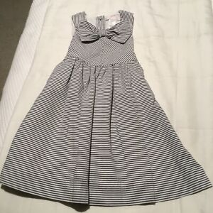 JANIE AND JACK TODDLER GIRLS LINED DRESS SZ 3 GRAY AND WHITE STRIPED 100% COTTON
