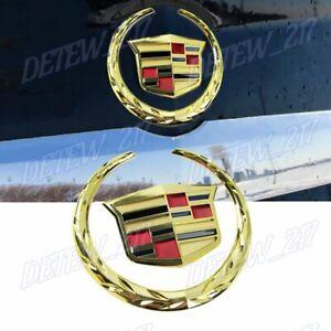 X1 Gold Cadillac Logo Car Auto Rear Trunk Lid Emblem for Cadillac SRX XTS CTS
