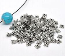 50 Calottes - Coupelles pour perles - Diam. 6 mm - Forme 4 feuilles -