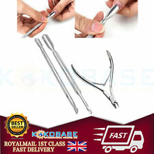 3Pcs Nail Art Cuticle Spoon Pusher Clipper Nipper Manicure Tool Kit Set UK Stock