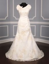 AUTHENTIC St. Pucchi Ingrid Wedding Dress Ivory Fit & Flare NEW 8 RETURN POLICY