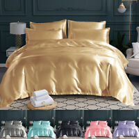 Satin Silk Bedding Set Duvet Quilt Cover Pillow Case Bed Linens Twin/Queen/King