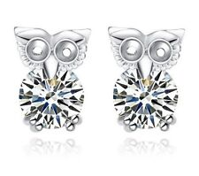 925 Sterling silver cubic zirconia Crystal Owl Animal Stud Earrings Gift Box A1