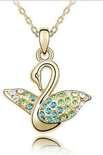 Classic Ocean Blue, Green & Gold Tone Swan Pendant Necklace N174