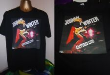 JOHNNY WINTER- CAPTURED LIVE! 1976- ALBUM ART PRINT T SHIRT-BLACK- EXTRA LARGE